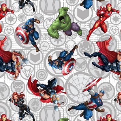 Cotton Poplin Fabric - Marvel Avengers Action