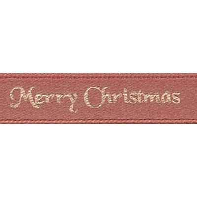 Berisfords Merry Christmas Ribbon - 25mm Wide - Rose Gold
