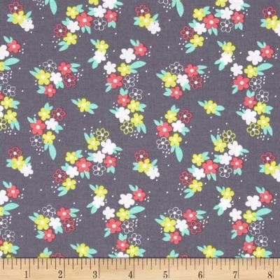 Michael Miller Fly Away Perky Petals Gray Cut Length