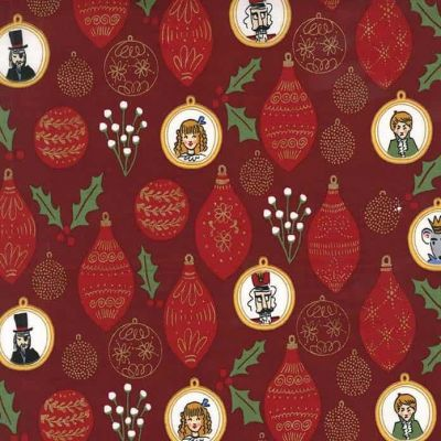 Michael Miller Nutcracker Act 1 Ornaments Burgundy Cut Length