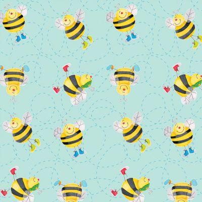 A.E. Nathan - Flannel Fabric - Blue Bees
