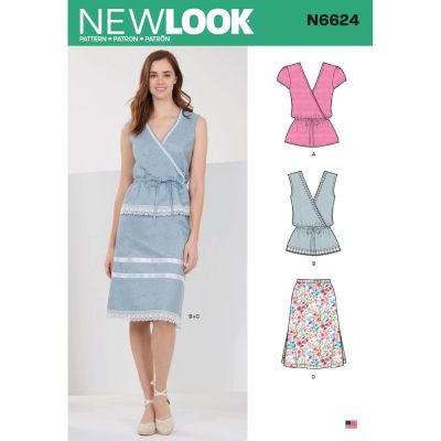 New Look Sewing Pattern 6624 - Misses Tops And Pull On Skirts