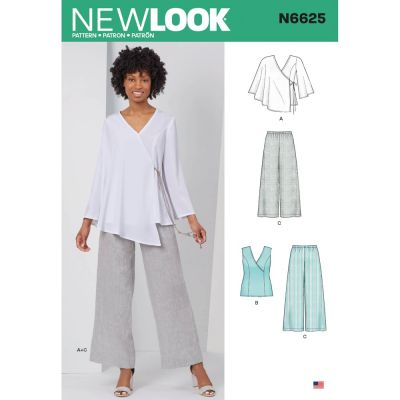 New Look Sewing Pattern 6625 - Misses Tops And Pull On Pants