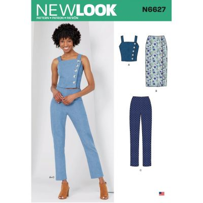 New Look Sewing Pattern 6627 - Misses Top, Skirt, And Pants