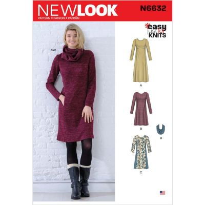 New Look Sewing Pattern 6632 - Misses Knit Empire Dresses