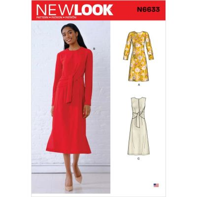 Remnant -New Look Sewing Pattern 6633 - size A ( 8-12) - Misses Dresses with Optional Drape - End of Line
