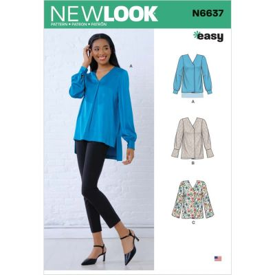 New Look Sewing Pattern 6637 - Misses Loose Fitting Blouses