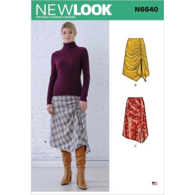 New Look Sewing Pattern 6640 - Misses Asymmetrical Skirts