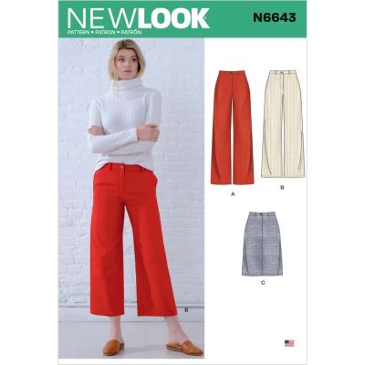 New Look Sewing Pattern 6643 - Misses Wide Leg Pants and Skirt