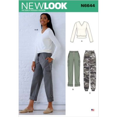New Look Sewing Pattern 6644 - Misses Cargo Pants and Knit Top