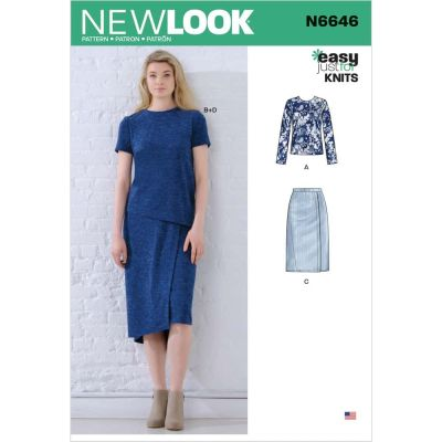 New Look Sewing Pattern 6646 - Misses Knit Tops and Skirts