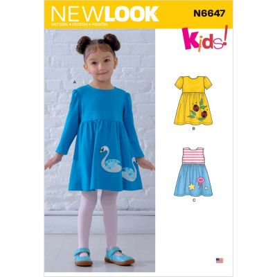 New Look Sewing Pattern 6647 - Toddlers Dresses with Appliques