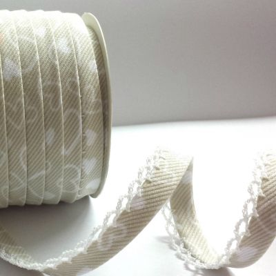 Byesta Fany Lace Edge White Hearts On Natural Bias Binding - 12mm Wide