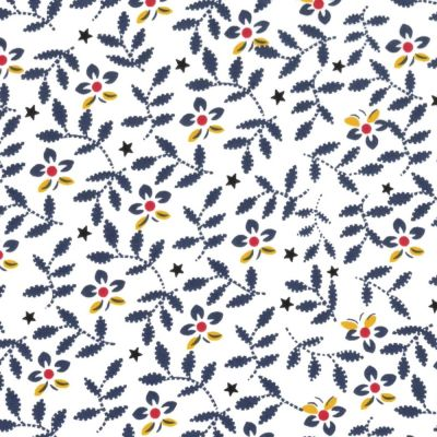 Regency Cotton Lawn Fabric - Navy Flowers & Leaves On White