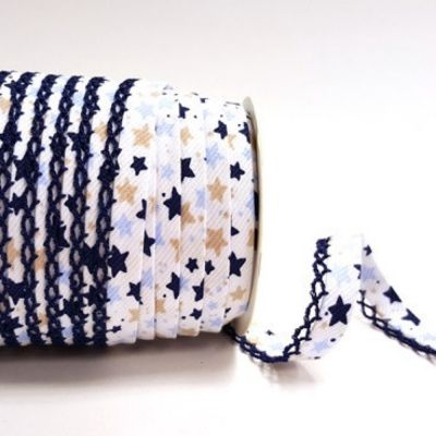 Byesta Fany Lace Edge Blue & Navy Stars On White Bias Binding - 12mm Wide
