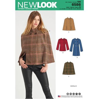 New Look Sewing Pattern 6586 - Misses Coat or Cape