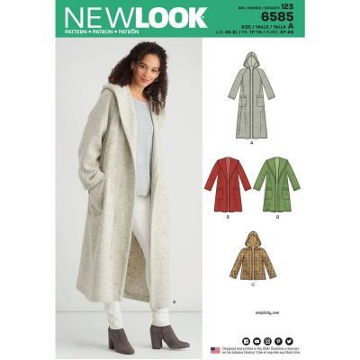 New Look Sewing Pattern 6585 - Misses Coat with Hood