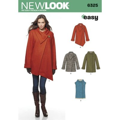 New Look Sewing Pattern 6325 Misses Easy Coat with Length and Front Variations, and Vest