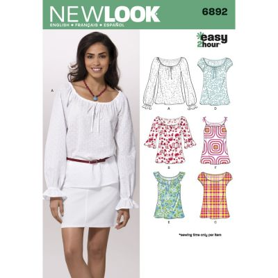 New Look Sewing Pattern 6892 Misses Tops