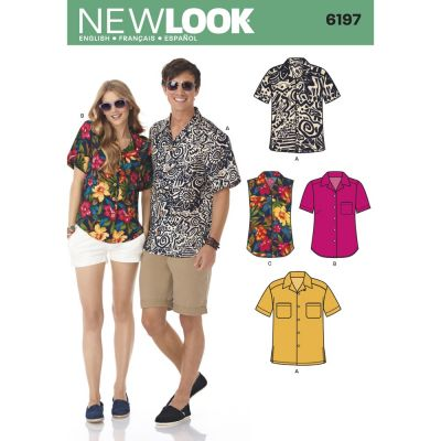 New Look Sewing Pattern 6197 Misses and Mens Shirts