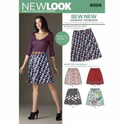 New Look Sewing Pattern 6004 Misses Learn to Sew Skirts