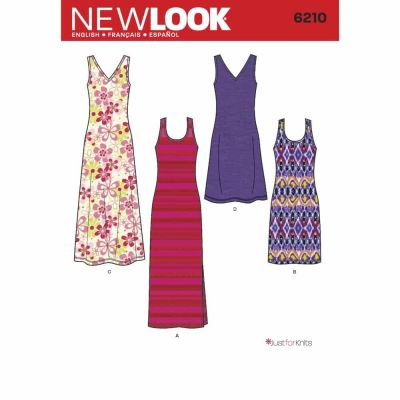 New Look Sewing Pattern 6210 Misses' Knit Dress in Two Lengths