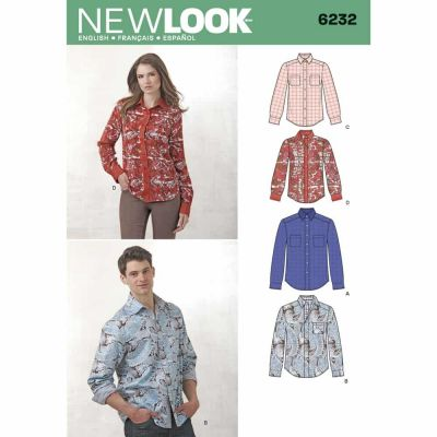New Look Sewing Pattern 6232 Misses' and Men's Button Down Shirt