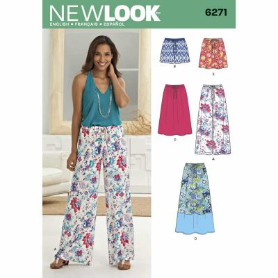 New Look Sewing Pattern 6271 Misses' Skirt in Three Lengths and Pants or Shorts