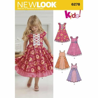 New Look Sewing Pattern 6278 Child's Dress with Trim Variations