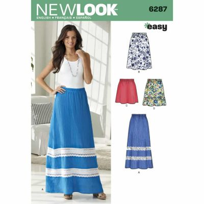 New Look Sewing Pattern 6287 Misses' Pull on Skirt in Four Lengths