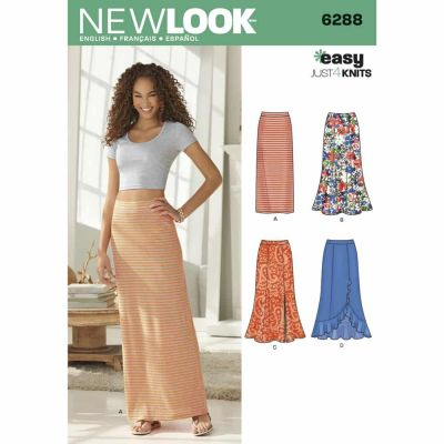 New Look Sewing Pattern 6288 Misses' Pull on Knit Skirts