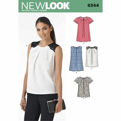 New Look Sewing Pattern 6344 Misses' Tops in Two Lengths