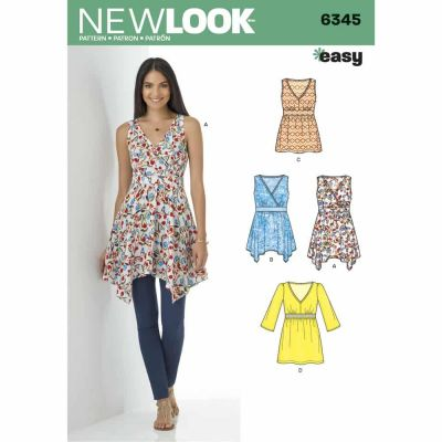 New Look Sewing Pattern 6345 Misses' V-Neck Tops with Length Variations
