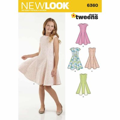 New Look Sewing Pattern 6360 Girls' Sized for Tweens Dress
