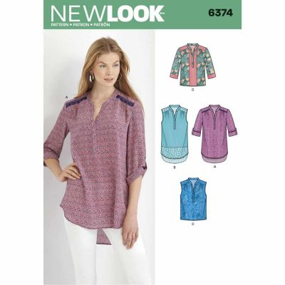 New Look Sewing Pattern 6374 Misses' Shirts with Sleeve and Length Options