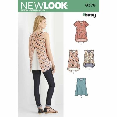New Look Sewing Pattern 6376 Misses' Tops with Length Variations