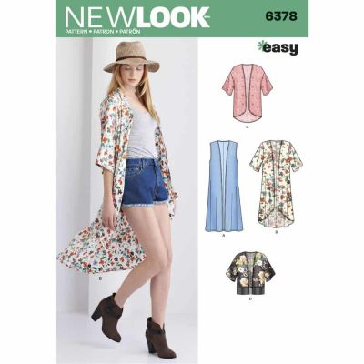 New Look Sewing Pattern 6378 Misses' Easy Kimonos with Length Variations