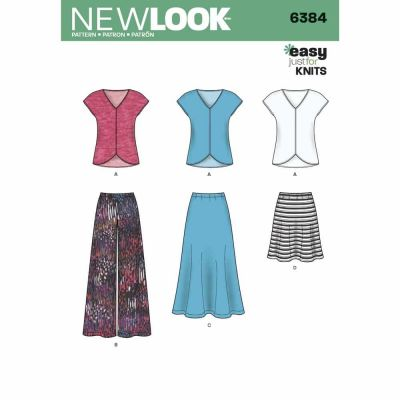 New Look Sewing Pattern 6384 Misses' Knit Top, Skirt and Pants