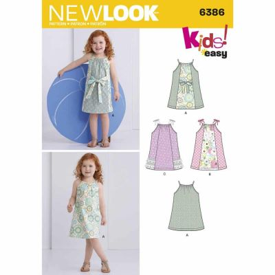 New Look Sewing Pattern 6386 Toddlers' Easy Pillowcase Dresses