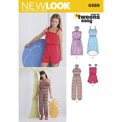 New Look Sewing Pattern 6389 Girls' Easy Jumpsuit, Romper and Dresses