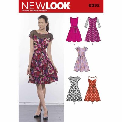 New Look Sewing Pattern 6392 Misses' Dresses with Contrast Fabric Options