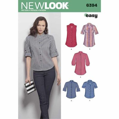 New Look Sewing Pattern 6394 Misses' Button Front Tops
