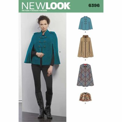 New Look Sewing Pattern 6396 Misses' Capes and Capelets