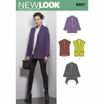 New Look Sewing Pattern 6397 Misses' Jacket and Vest
