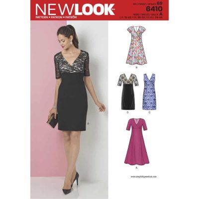 New Look Sewing Pattern 6410 Misses' Dress with Skirt and Fabric Variations