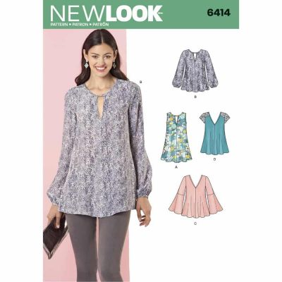 New Look Sewing Pattern 6414 Misses' Tunic and Top with Neckline Variations