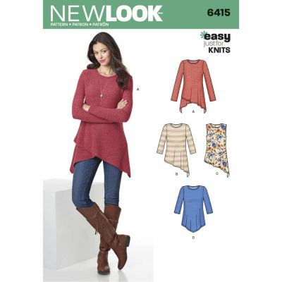 New Look Sewing Pattern 6415 Misses' Knit Tunics