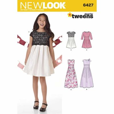 New Look Sewing Pattern 6427 Girls' Dress in Two Lengths
