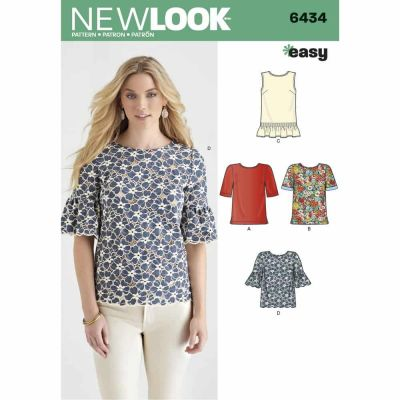 New Look Sewing Pattern 6434 Misses' Tops with Fabric Variations