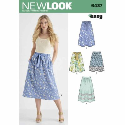 New Look Sewing Pattern 6437 Misses' Skirt in Two Lengths with Fabric Variations